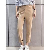 TT&NIUZAIKU Mujer Tiro Alto Corte Recto Chinos Pantalones - Un Color, Gray, m