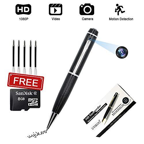 Stift Kamera UYIKOO Mini Stifte Kamera HD 1080p Tragbare Kleine Kamera für Home Office Überwachung Nanny Cam Unterstützung Bewegungserkennung mit 8GB Card + Card Reader & 5 Tinte Fills Inc