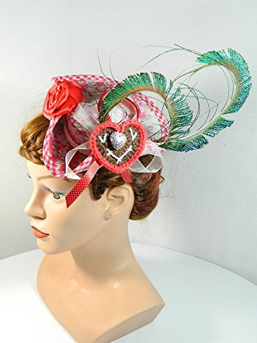 Mini Dreispitz rot weiß Damenhut Fascinator Kopfschmuck Haarschmuck