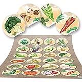 48 runde Aufkleber GEMÜSE Küchenaufkleber Essen gesund Küche Deko Aufkleber Glas Sticker Küchen-Etiketten selbstklebend Kinder basteln