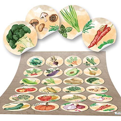 48 runde Aufkleber GEMÜSE Küchenaufkleber Essen gesund Küche Deko Aufkleber Glas Sticker Küchen-Etiketten selbstklebend Kinder basteln Küche Sticker