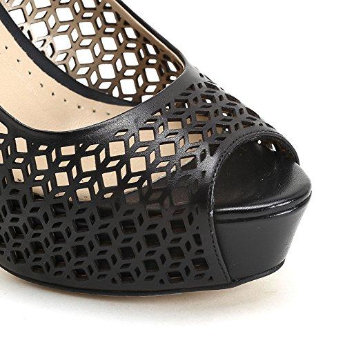 ALESYA by Scarpe&Scarpe - Sandales hautes avec gravures au laser, en Cuir, à Talons 12 cm Noir