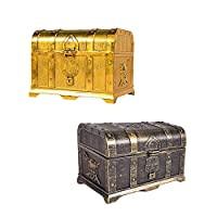 Unionup 2Pcs/Set Children Toy Pirate Jewerlry Treasure Chest Plastic Retro Large Storage Box Halloween Costume Props For Boys Gifts