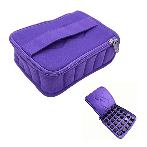 Doux 30 bouteilles d'huile essentielle de transport Etui Range pour 5 ml/10Ml/15ml de voyage ou maison Sac de rangement portable avec poignée et fermeture Éclair double violet violet