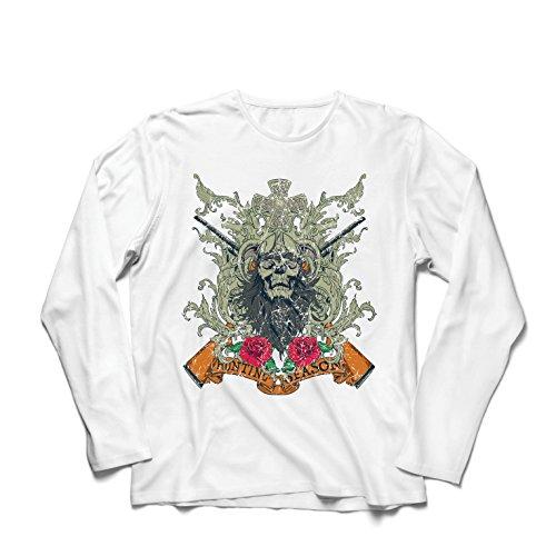 lepni.me Langarm Herren T Shirts Jagdsaison Bekleidung - Hirsch oder Ente Jagd, Jäger Kleidung (XS Weiß Mehrfarben)