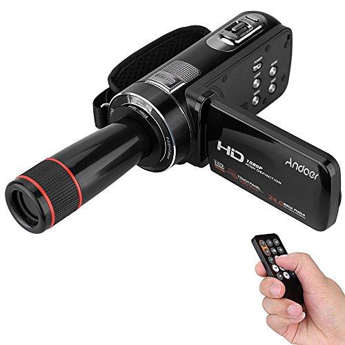Andoer hdv-z8 1080p full hd digital video camera 16 × zoom digitale con schermo di tocco lcd di rotazione digitale max 24 mega pixel di rilevamento visivo di supporto con obiettivo telecamera 12 ×