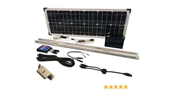 35W Solar Panel Lighting Kit for Shed Stable Workshop Garage & Outbuildings