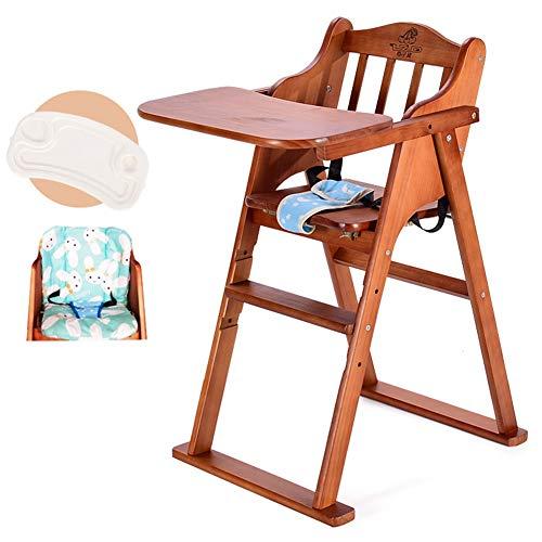 LXLA - Klappbarer Hochstuhl & Fütterungsstuhl for Kleinkinder mit 5-Punkt-Gurt und Kissen, 6 Monate bis 130 lbs - Natürliche Kiefer (Color : Coffee Color) (Kissen Outdoor-hochstuhl)