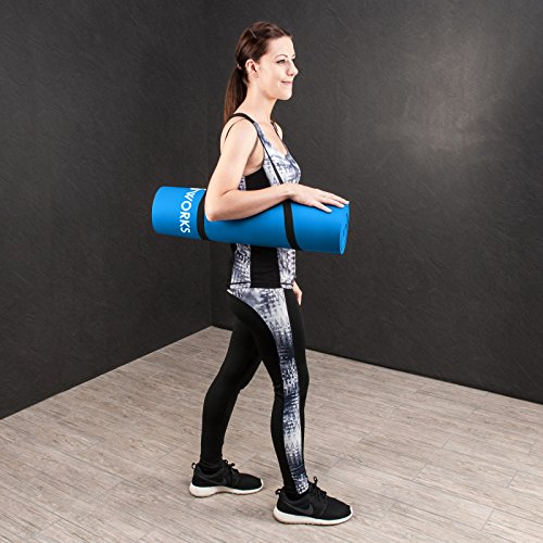Proworks Large Padded Yoga Mat with Carry Handle for Pilates / Exercise / Gymnastics – Blue