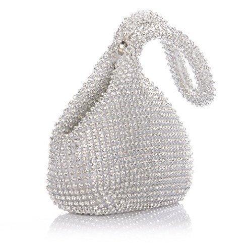 JIAN YA NA Frauen Damen Abend Clutch Bling Glitter Geldbörse Dreieck Design Hochzeit Geldbörse Handtasche für Party Prom (Silber) Silber