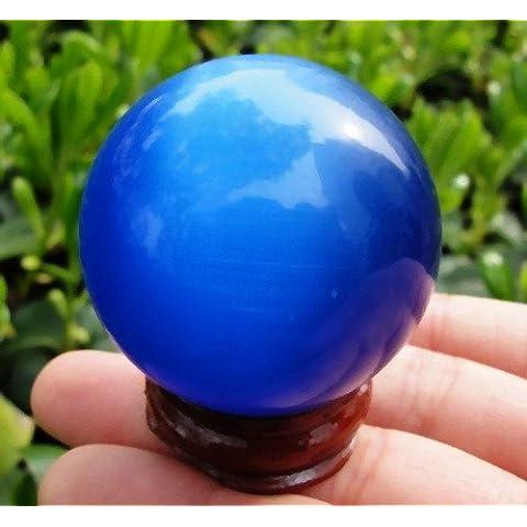 Bluelover Bola de cristal Blue Cat Eye Base madera 40mm chino Feng Shui hogar escritorio decoración regalos