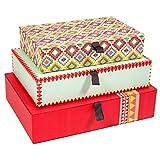 Nazca 3 Aufbewahrungsboxen mit farblich abgestimmten Schleifenlaschen + praktische Innentaschen, Archivbox, Aufbewahrungsbox aus Papier (Rot/Aquablau/Gelb)