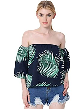 Jeansian Mujer Verano Moda Leaf Printing Sin Tirantes Loose Strapless Blouse Playa Top Camisa WHW009