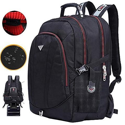 FreeBiz Stoßfest 60L Wasserdicht 18,4 Zoll Notebooktasche Laptop Rücksack Passend für bis zu 18 Zoll Gaming Laptops für Dell, Asus, MSI (Schwarz) mit eine regenfeste Tasche und USB Steckdose (60L )