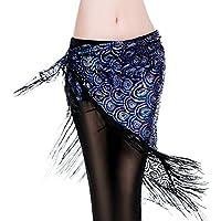 ROYAL SMEELA Bufanda de Cadera Danza del Vientre Mujer Borla Pavo Real Bufandas de Caderas Falda Cruzada de triángulo Disfraz Pañuelo de Danza del Vientre