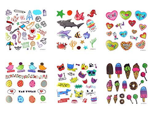Spestyle wasserdicht und ungiftig Tattoo 6pcs Cartoon Tattoos für Kinder in einem Paket, einschließlich Cartoon Fische, Seaworld Tiere, Herzen, Vögel, schneiden Tiere, Eis, Süßigkeiten, etc. (Eis-pakete)