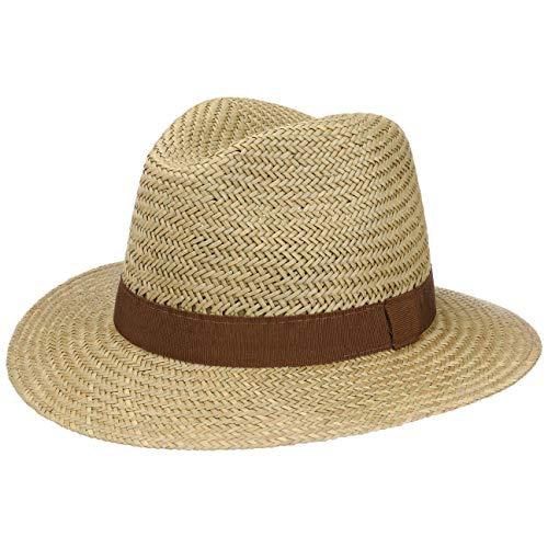 Lipodo Classic Traveller Strohhut für Damen und Herren | Größse S 54-55 cm | Sonnenhut aus 100% Stroh | Farbe Natur | Sommerhut mit braunem Ripsband | Hut gegen Sonne im Sommer Sommer Hut