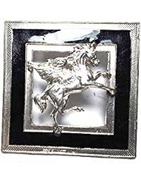 Artesanal Hebilla para cinturón 4 cm, Esmalte Negro Caballo alada Pegaso, Color Plata,