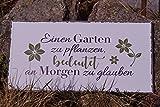 Bo Metall Schild - Einen Garten zu Pflanzen - 40x20cm Blütenmotiv Spruch Dekoration