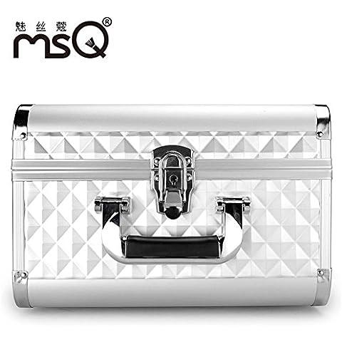 Meydlee trucco treno Case tutti Alumi argento geometrica riflessi metallici impermeabile portatile cosmetico valigia con 4 vassoi estensibile & Organizzatore cosmetici serratura a chiave