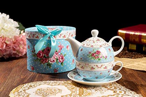 Teekanne und Tasse, Vintage, Rose, Viktoria, Porzellan, in Geschenkbox, keramik, blau, 15x15cm