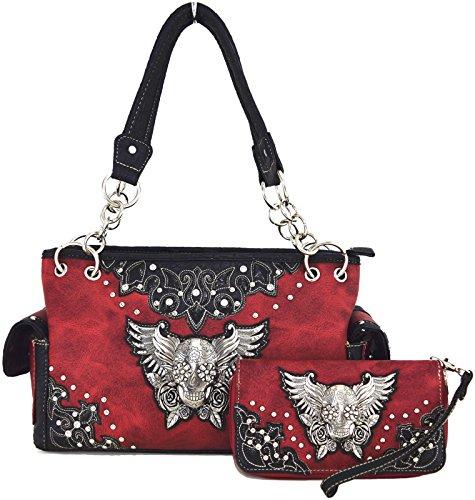 Blancho Biancheria da letto delle donne in pelle [Eagle Wing] PU borsa elegante di modo Borsa Rosso Combo-Rosso