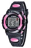Sport Orologio da Polso per Bambini Tondo Orologio Digitale Impermeabile con Cronografo Allarme e Luminoso Funzioni - Nero-rosa