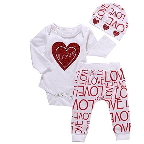 FRYS vêtements bébé fille hiver ensemble bebe garçon naissance printemps manteau blouse fille pas cher Pyjama fille haut sweat t shirt combinaison body + pantalons + bonnet (70(0-6 mois), Blanc)