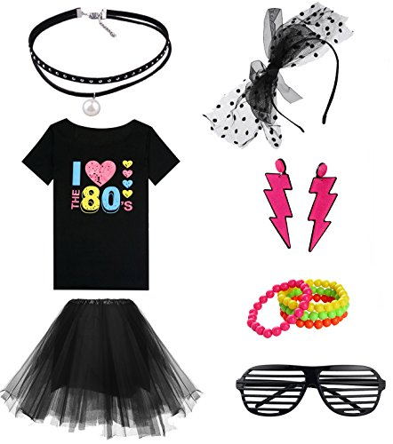 Women's I Love The 80's Off The Shoulder Tops Costume set for 80's Fans