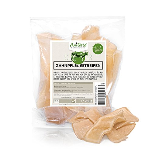 AniForte Vital-Snacks Zahnpflegestreifen 250 g mit Rind Hundesnack Hundeleckerlie- Naturprodukt für Hunde