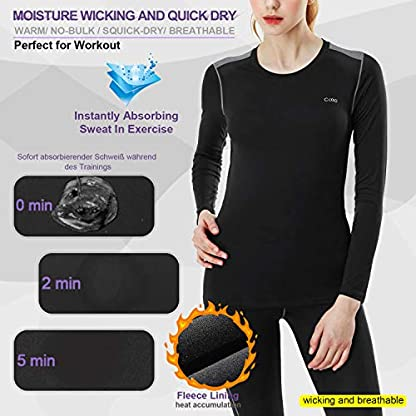 MEETYOO Women's Thermal Underwear Set, Ultra Soft Base Layer for Ladies, Fleece Lined Long Johns Sport Top&Leggings Set for Running Skiing Cycling Workout 3