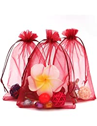 """(Wine Red) - 100PCS Extra Large Organza Gift Bags13X18CM (5"""" x 7"""") Drawstring Pouches Jewellery Wedding Party Favour Gift Bags Candy Bags (Wine Red)"""