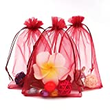(Wine Red) - 100PCS Extra Large Organza Gift Bags13X18CM (5' x...