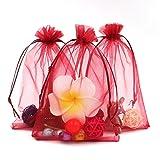 Buste regalo da 100pz extra large in organza 13 x 18 cm (12,7 x 17,8 cm) - Borse con chiusura a cordoncino Jewelry Wedding Party Favor Gift Bags Candy Bags, vinaccia rosso