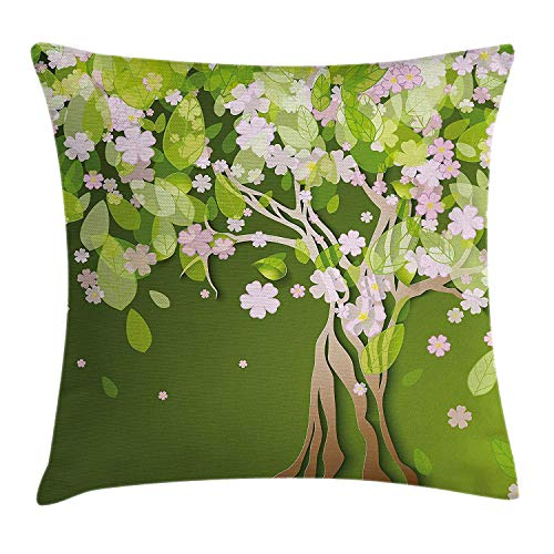 KLYDH Floral Throw Pillow Cushion Cover, Tree with Blossoming Flourishing Petals Florets Spring Elegance Print, Decorative Square Accent Pillow Case, 18 X 18 Inches, Fern Green Light Pink -