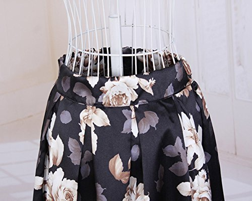 Moollyfox Jupe Mode Féminin imprime floral taille haute plissée Bouffant Robe Midi Jupe Noir1
