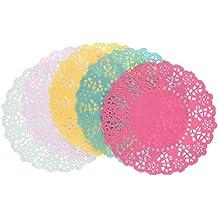 Talking Tables Floral Fiesta; Spitzendeckchen aus Papier für Teekränzchen, Luau (Hawaiparty) und Geburtstagspartys, 5 Farben (100 pro Pack)