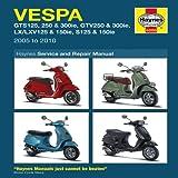 Vespa: GTS125, 250 & 300ie, GTV250 & 300ie, LX/LXV125 & 150ie, S125 & 150ie 2005 to 2010