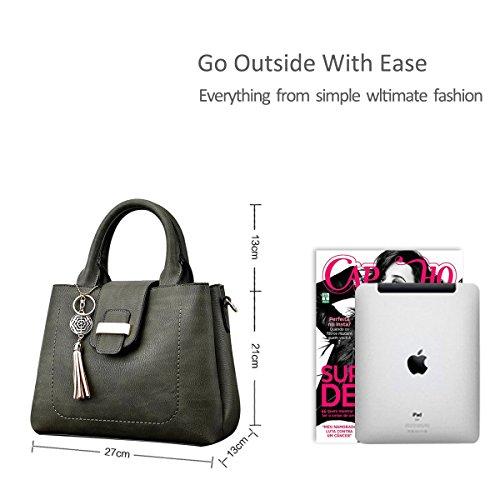 NICOLE&DORIS Mode Einfach Frauen Handtasche Crossbody Schultertasche Wasserdicht PU Grau Grün