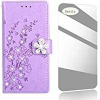 Galaxy J5 2017 Case,THRION Diamond Flower Pattern Premium Leather Cover [Card Slot][Free Tempered Glass Screen Protector] PU-Leather Case for Samsung Galaxy J5 2017 / J530 – Purple