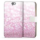 HTC One A9 Tasche Hülle Flip Case Glitzer Look Pink Glanz