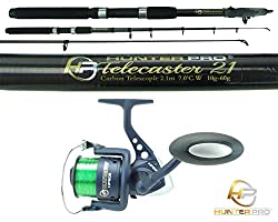Telescopic 6ft 7ft Fishing Rod & Reel Carbon Travel Pike Bass Spinning Tele Rod