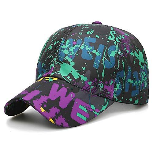 zhuzhuwen Neue Baseball koreanische Version des Hutes Stickerei Buchstaben für Männer und Frauen Sport Laufen Farbe malen Alten sechs Stück Kappe 1 einstellbar