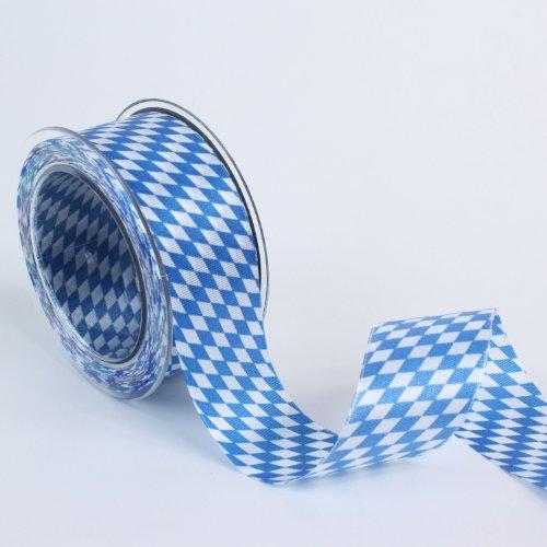 Dekoband Bayernraute Schleifenband weiß-blau 20m verschiedene Bandbreiten (40mm)