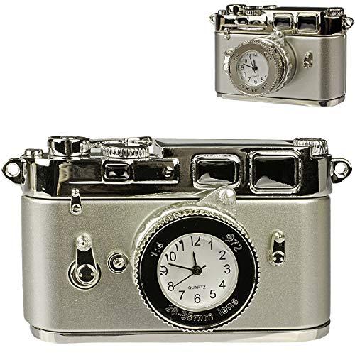 alles-meine.de GmbH kleine - Tischuhr / Miniatur - Uhr - Kamera - Spiegelreflexkamera - aus Metall - 7,8 cm - batteriebetrieben - Analog - Batterie - Silber grau - Zahlen Stehuhr..