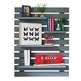 LIZA LINE Dekoratives Holz Wandregal, Bücherregal, Buch Regal, Regal-System mit 4 freihängenden Regalbrettern. Massive Nordisches Holz - 101x80x21cm (Grau)