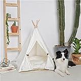 Ruick Pet Indian Tipi Zelt Baumwolle Play House für Katzen Hunde(S,Ohne Kissen)