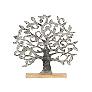 Gilde Deko Figur Baum 49x47cm Aluminium silber auf Holzfuß