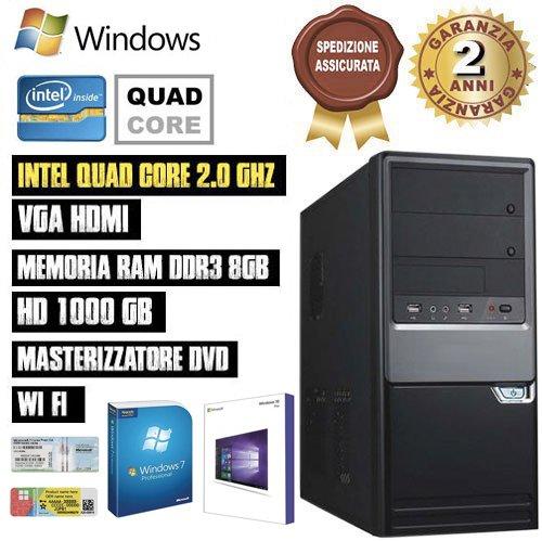 PC DESKTOP INTEL QUAD CORE RAM 8GB HD1TB DVD/WIFI/HDMI FISSO COMPLETO ASSEMBLATO CON LICENZA WINDOWS 7 pro Talloncino con seriale