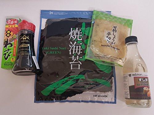 Sushi Zutaten Set Grundzutaten: Sushi-Su Reisessig (fertig gewürzt), Sojasauce, Noriblätter, eingelegter Ingwer, Wasabi (scharf)